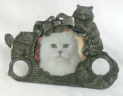 High Quality Pewter Tabletop Photo Picture Frame, Cat Kitten Playing 1988 Metzke