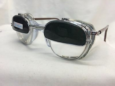 American Optical Welding Glasses Iruv Flip Up Cable Temples Clear Glass Lens