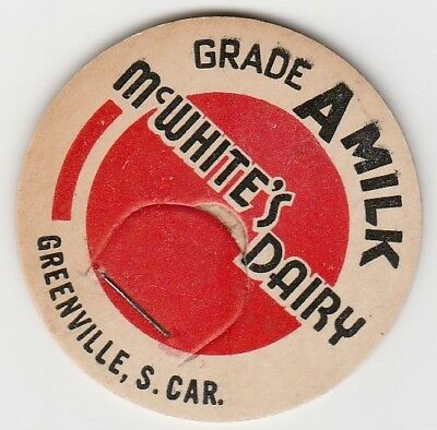 Lot Of 12 Milk Bottle Caps. Mcwhite's Dairy. Greenville, Sc.
