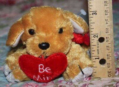 "3""-4"" Brown Dog Valentine Plush Red Be Mine Red Heart March of Dimes for Babies"