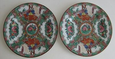 Fine Old Pair of Chinese Painted Porcelain Rose Medallion Motif Plates SIGNED  a