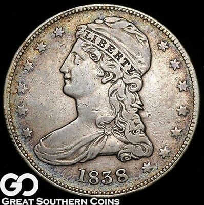 1838 Capped Bust Half Dollar, REEDED Edge!