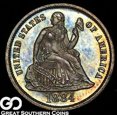 1884 Seated Liberty Dime PROOF, Solid Gem PF, Ultra PQ Rainbow Toning!