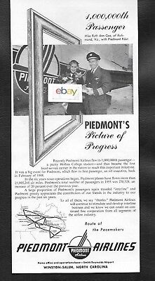 Piedmont Airlines 1953 Dc-3 1,000,000Th Passenger Ruth Ann Gee Richmond,va Ad