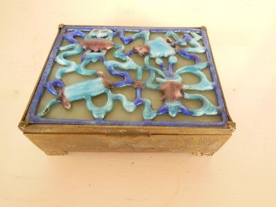 Very Vintage CHINESE ENAMEL Jade & Brass TRINKET BOX Impressed 'CHINA'