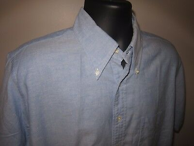 60s Vtg LL Bean Blue Button Down Oxford Shirt Script Cursive Logo Sz 17 Meas 16