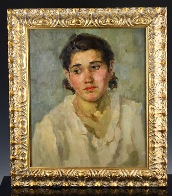 Fine Canadian Impressionist Young Lady Portrait Oil Painting Signed