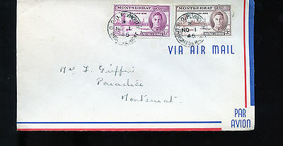Vintage 1946 Airmail Cover  to Montserrat GPO Plymouth BL1304
