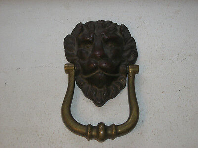 Old Victorian Solid Brass Lion Door Knocker 1890s – 1910s