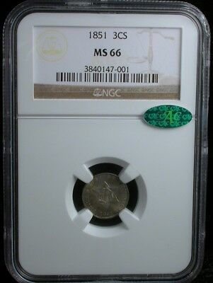 1851 3CS NGC MS 66 CAC 1851 THREE-CENT SILVER COIN 3c SILVER