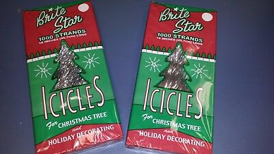 """2000 Strands Icicles Silver Tinsel Icicles 18"""" Long Christmas Tree MADE IN USA"""