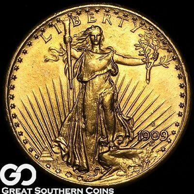1909-S Double Eagle, $20 Gold St. Gaudens, Very Nice Gold Coin, * Free Shipping!