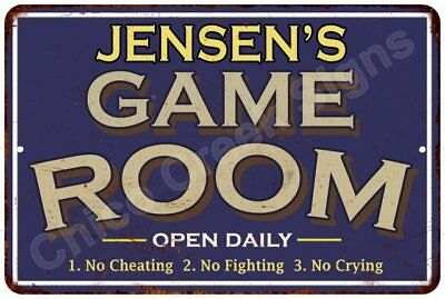 JENSEN'S Blue Game Room Sign Vintage Look 8x12 Chic Metal Wall Décor 8126512