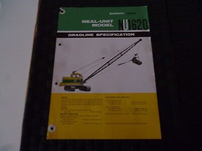 Neal Unit Model Nu 1620 Dragline Specification 2621 Leaflet *as Pictures*