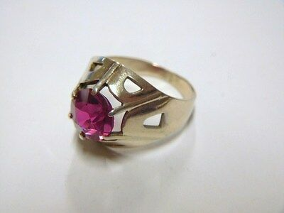 Vintage Ring from Russia. 875 gilded Silver w/ PinkTopaz. Brand marked. Size 8