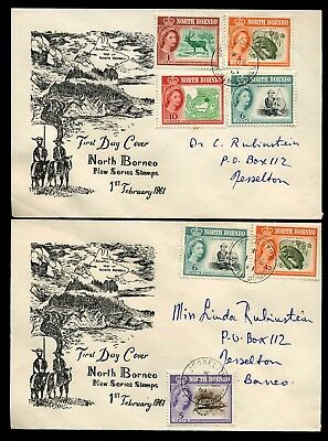 North Borneo 1961 1c to 10c values on 4 x FDCs