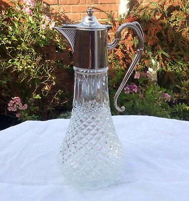 "Fine Quality 12"" Silver Plated & Cut Glass Claret Jug Decanter"