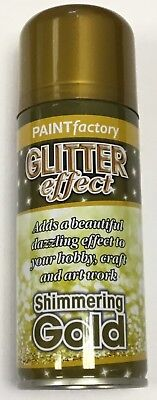 1 x Gold Glitter Effect Colour Spray Can Paint Decorative Creative Crafts