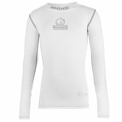 Rhino Rugby Kids Boys High Neck Baselayer Top Junior Compression Armor Thermal