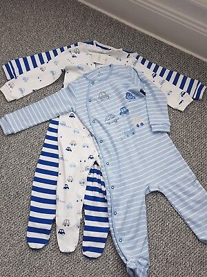Boys Next 3 pack car sleepsuits 12-18 Months BNWT
