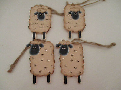 4 Primitive Wood Sheep Ornaments Twine Country Home Decor Sign Farm Animals