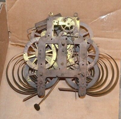 """Antique 8 Day Time Strike Seth Thomas """"HIP"""" Movement  Marked 44 for Parts"""