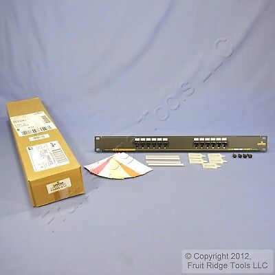 "New Leviton 19"" Cat 5 12-Port Type T568A Wiring Patch Panel Rack Mount 59485-A12"
