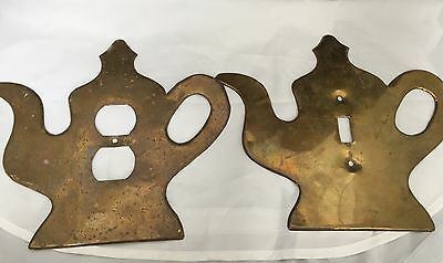 Set of 2 Unique Vintage Brass Outlet & Switch Plate Covers Teapots Shaped!