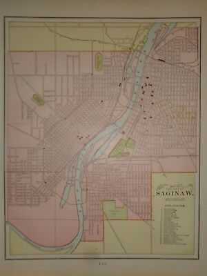 Vintage 1899 ~ SAGINAW, MICHIGAN - MAP ~ Old Antique Original  Atlas Map 82717