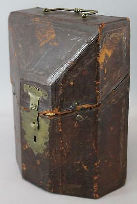 Unique Shape, 18thC Antique Tooled Leather Box Chest, Brass Lock, NR