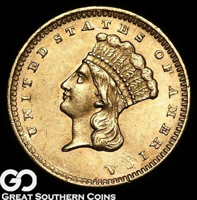 1861 Gold Dollar $1 Gold Indian Princess, Lustrous Brilliant Uncirculated++