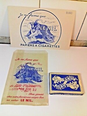 Rare Lot 3 Ad Items Cigarettes Rolling Paper LE NIL 1950s Elephant Playing Cards