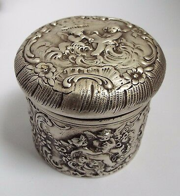 Superb Heavy English Antique Victorian 1900 Sterling Silver Tea Caddy Canister