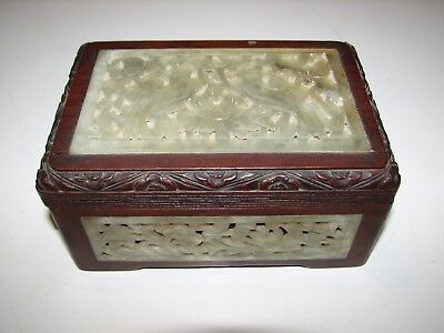 Victorian-Era (C. 1900) Antique Carved Jade & Rosewood Box With Lovebirds