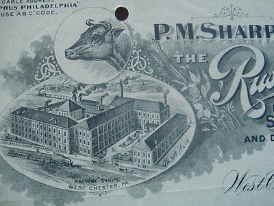 1897 DAIRY PICTURE P.M.Sharples/Russian Cream Separators,West Chester,Pa.,letter