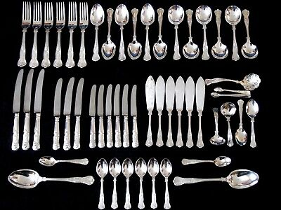George Butler Silver Plate Kings Pattern Cutlery Spoons Forks Tongs... 52 Pieces