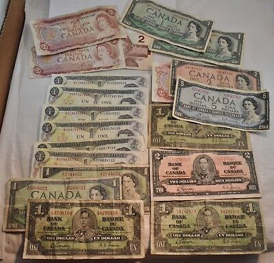 Lot of (20) Canada Notes, $30 Face Value $5 $2 $1 1937 1954 1974 1986, Bank of
