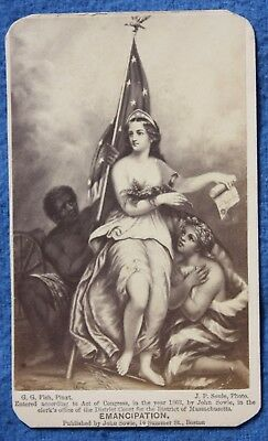Dated 1863 CIVIL WAR Slavery EMANCIPATION CDV Photo by J P Soule, Boston
