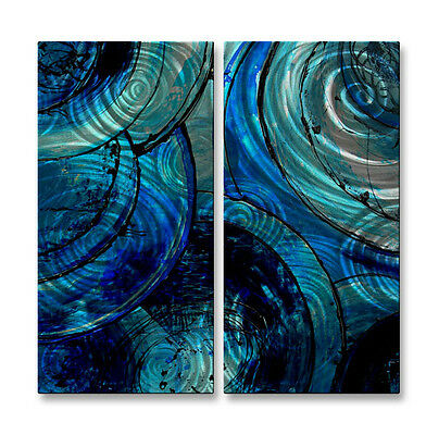 Blue Moons' Metal Art by Erin Ashley Contemporary Home Decor Wall Sculpture