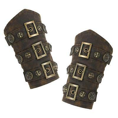 Steampunk Brown Faux Leather Wristband Gauntlet Armor Cuff Set Costume Accessory