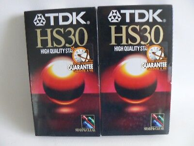 TDK HS30 High Quality Standard VHS Tapes X 2  30-45 mins NEW SEALED