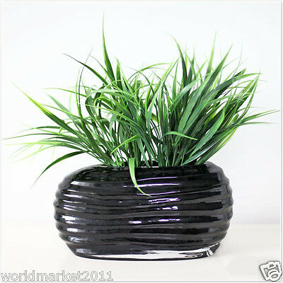 Rural Style Ripple Glass Vase + 2 Bunches Simulation Grass Set Floral Decoration
