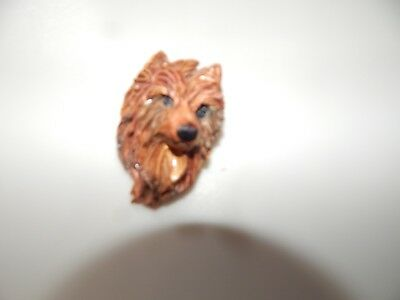 Handmade Pottery Red Australian Terrier Head Pin Brooch