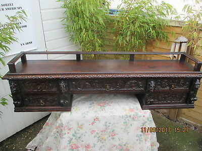 Victorian  Solid Mahogany Quality Carved Green Man Dresser Top