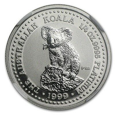 Rare ~ 1999 P ~ $25 Platinum ~ Perfect Koala Bear ~ 1/4~Oz ~ Ngc Ms~70 ~ $948.88