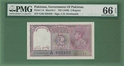 PAKISTAN OVPT INDIA Rupee 2 1947 KING GEORGE  P-1A PMG 66  EXREMELY RARE!!!!