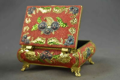 Collectable Handwork Decor Cloisonne Carving Beauty Flower Royal Lucky Jewel Box