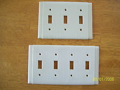 1 triple and 1 Quad Vintage UNILINE Ribbed Switch Plate Cover IVORY Bakelite