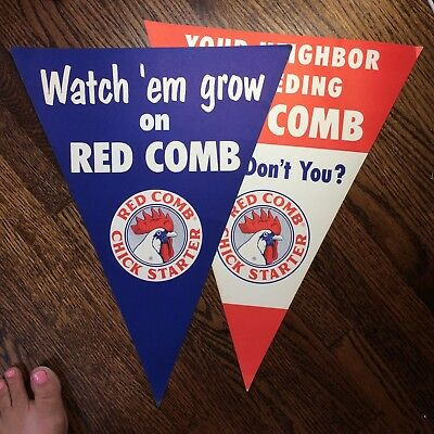 2 Vintage Original RED COMB CHICK FEED Farm Chicken Advertising Pennant SIGN