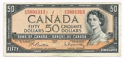 1954 (1961-72) CANADA 50 DOLLARS NOTE - p81b